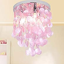 Injuicy Lighting Modern Crystal Shell E12 Led Ceiling Lights Shades Mediterranean Sea Rock Edison Pendant Ceiling Lamps Fixtures Girl's Bedroom Living Room Wedding Xmas Home Decor Gift (Pink)