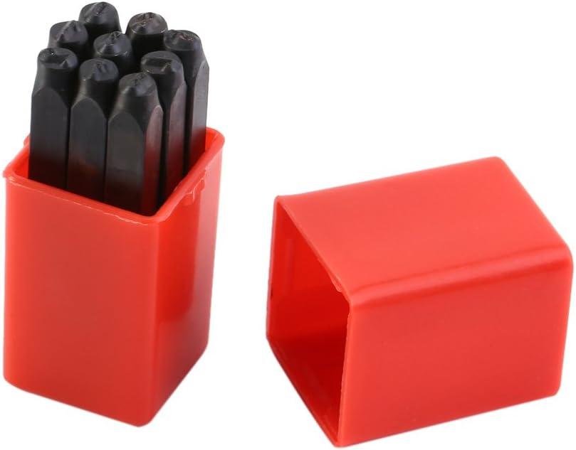 Accesorio para pirograbado, Números de 4 mm 0-9 Sellos Juego de punzones de acero endurecido Juego de herramientas de metal de acero para impresión de metal Madera Plástico Cuero
