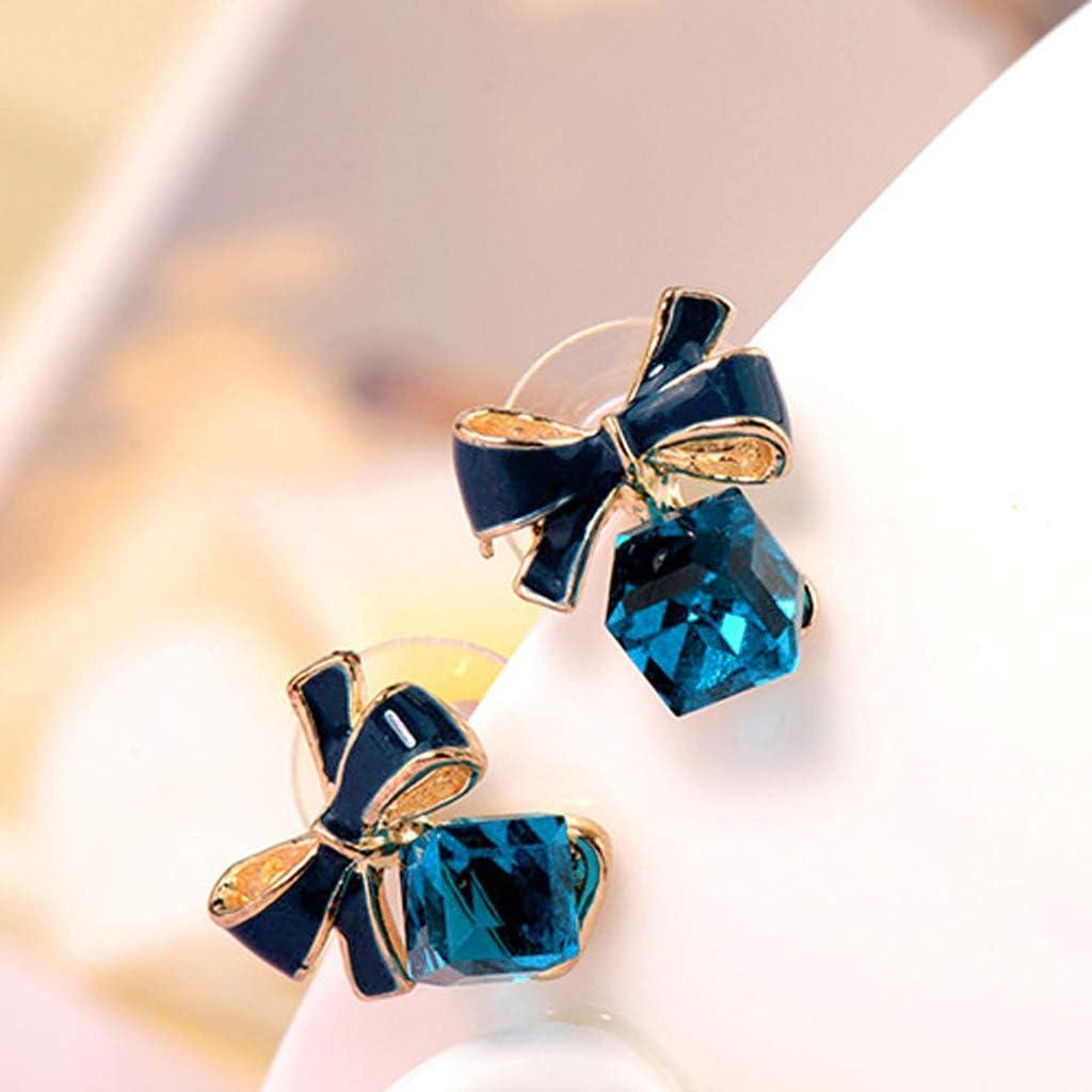 qingqingR Cristal Bleu bo/îte de Cube en Eau Noeud Papillon Boucles doreilles pour Femmes Bijoux de Mode