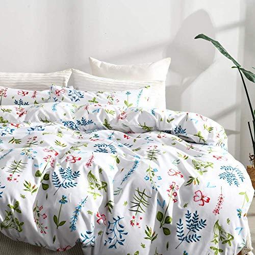 (Leadtimes Queen Duvet Cover Set Flower 3PC Vintage Duvet Cover Lightweight Soft Comforter Cover Set with Flower Design (Flower, Queen))