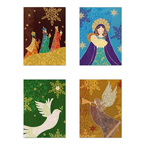 Christmas Card Religious - 20 Count Religious Boxed Cards with Foiled Designs,Whimsical Solid Pack Christmas Greeting Cards With Envelopes