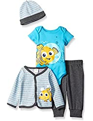 Disney Baby Boys' 4-Piece Finding Nemo Cardigan Set with Bodysuit, Pant, and Hat