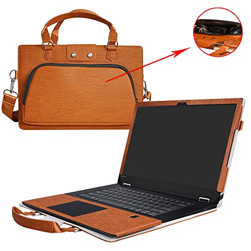 Flex 5 15 Case,2 in 1 Accurately Designed Protective PU Leather Cover + Portable Carrying Bag For 15.6' Lenovo Flex 5 15 1570 Series Laptop(Not Fit Flex 4/Flex 5 14),Brown