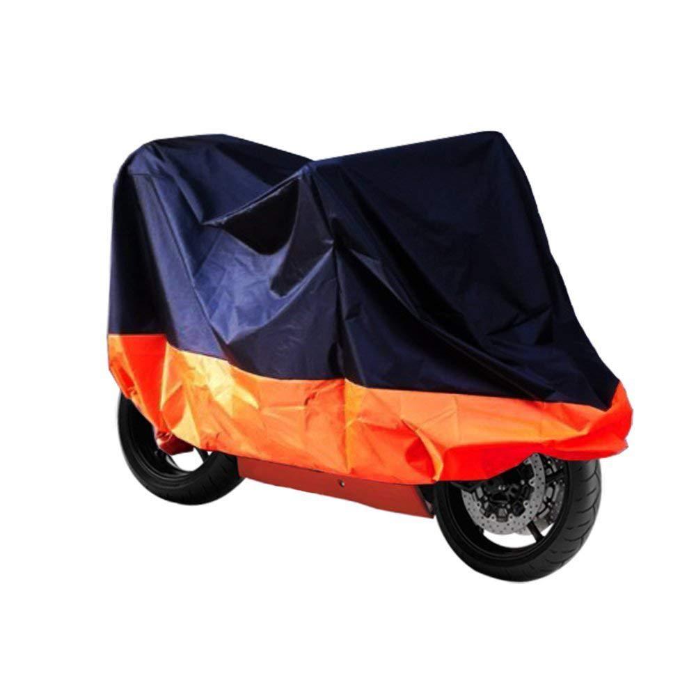 265cm Cubierta para Moto Naranja y Negro HANEU Funda Protector de Polyester Talla XXL