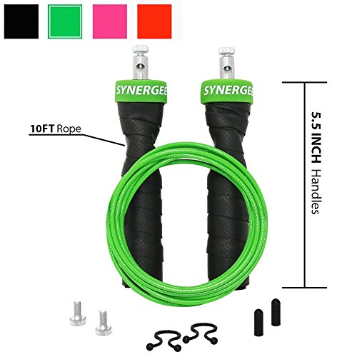iheartsynergee Electric Green Jump Rope - Premium Quality - Best for Boxing MMA Fitness Training - Speed - (2) Adjustable 10 Ft Cables - Steel Ball Bearings
