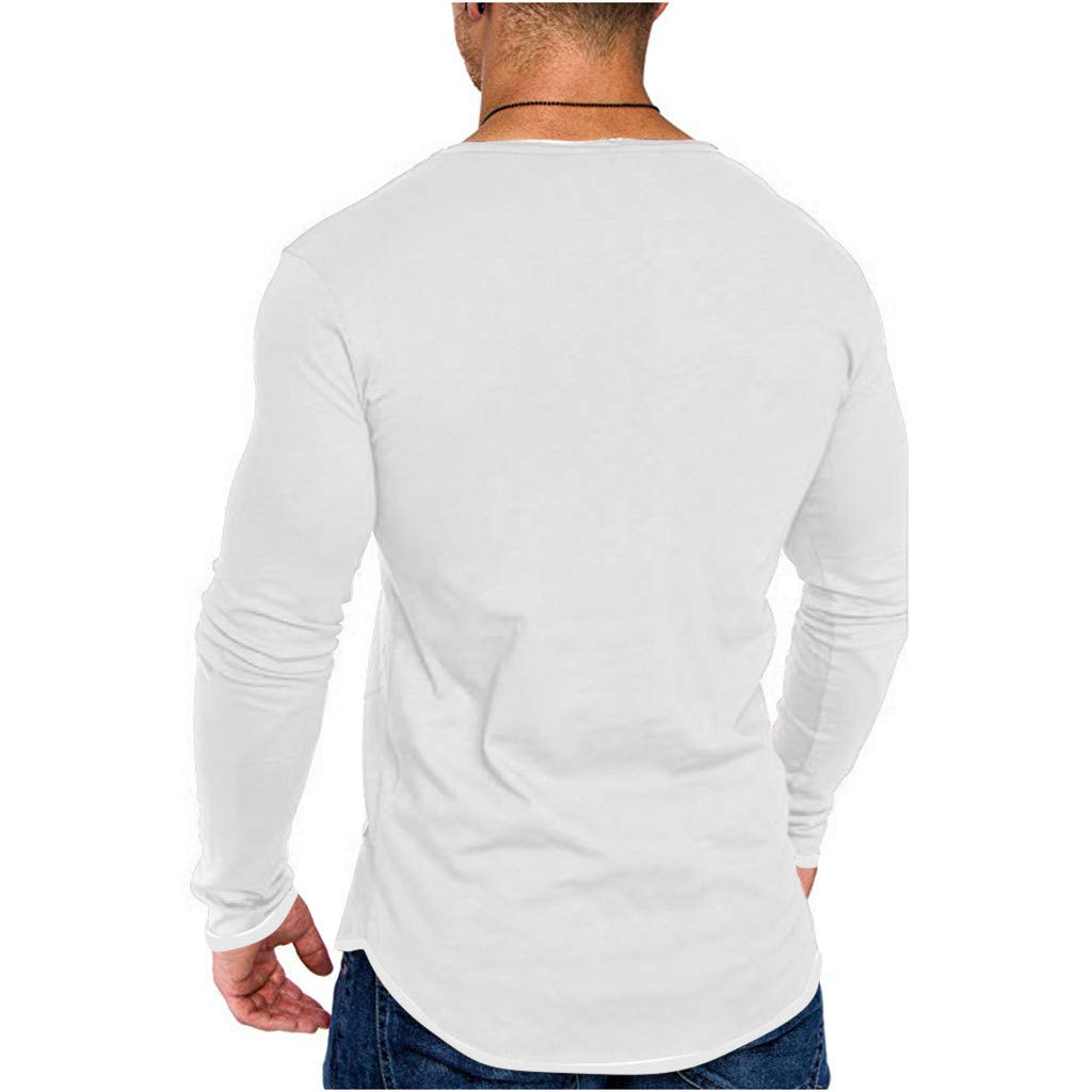 ANJUNIE Mens Simple Solid Color Muscle T Shirt Pocket Fake Two-Piece Top Blouse Pullover Sweatshirt