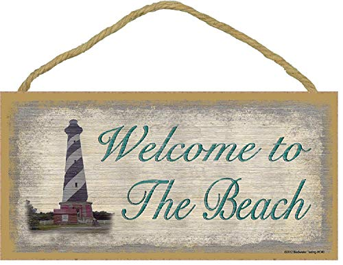Dozili Welcome to The Beach with Lighthouse Nautical Wooden Hanging Sign Beautiful Plaque Sign 6