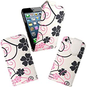 Wellmobile Funda de Cuero Flip Carcasa Beauty Flower Leather Case Cover Para Apple iPhone 5 5S