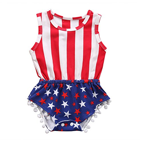 Usa Star Jump - OUTGLE Newborn Baby Girl Stripe Star Tassel Romper American Flag Sleeveless Onesies Jumpsuit (0-6 Months)