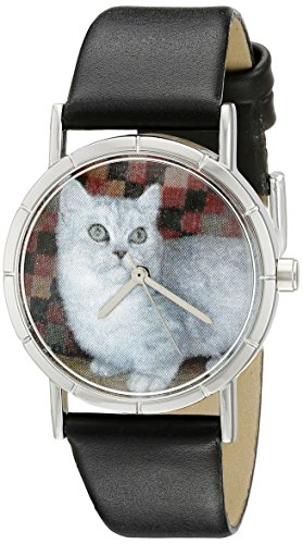 Whimsical Watches Kids' R0120047 Classic Munchkin Cat Black Leather And Silvertone Photo - Munchkin Miniatures
