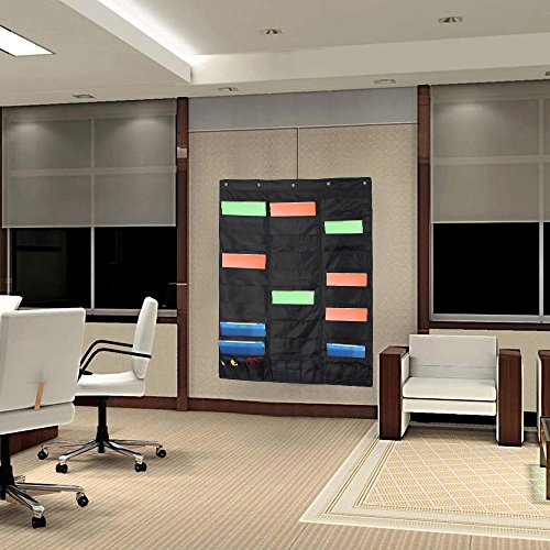 Samstar Wall File Folder Organizer (Black), Storage Pocket Chart for School, Classroom, Home or Office Use, 30 Pocket Chart Hanging Wall Organizer with 5 Hangers by SamStar (Image #6)