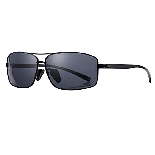 a533251545 AZORB Ultra Lightweight Rectangular Polarized Sunglasses for Men100% UV  Protection (Black)