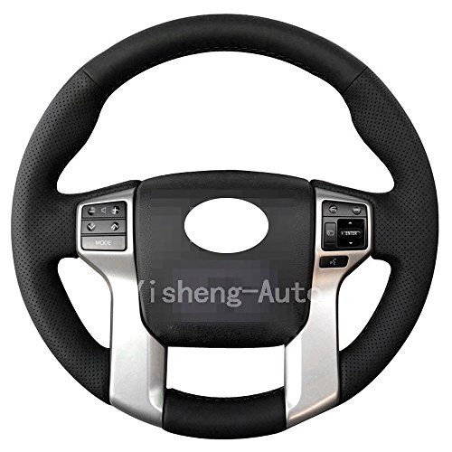 Eiseng Steering Wheel Cover for 2012 2013 2014 2015 2016 2017 2018 Toyota Tacoma 14-17 Tundra 14-16 Sequoia 2010-2017 4Runner Interior Accessories Stitch On Wrap Sew Genuine Leather (Black thread)