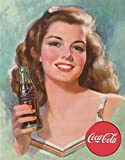 Coca Cola Coke 1940s Brunette Beauty Tin Sign 13 x 16in