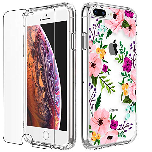 (iPhone 8 Plus Case, LUHOURI Clear iPhone 7 Plus Case with Screen Protector, Girls Women Heavy Duty Protective Hard Case with Slim Soft TPU Bumper Silicone Cover Phone Case for iPhone 8 Plus / 7 Plus)