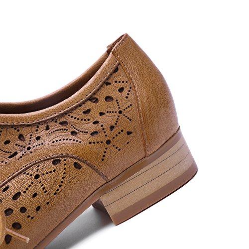 Mona Vliegende Vrouwen Leder Geperforeerd Lace-up Oxford Schoenen Voor Vrouwen Vleugeltip Multicolor Brougue Schoenen Bruin