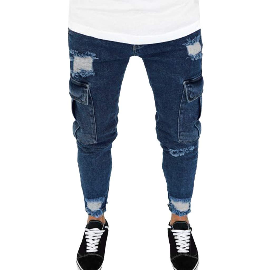 Aleola Men Casual Skinny Slim Solid Straight Zipper Pocket Long Pants Trousers (31) by Aleola_Men's Pants