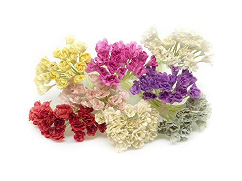 Savvi Jewels 160 Piece Mixed Mulberry Paper Flowers, Artificial Babys Breath Flowers, Miniature Flowers For Crafts Scrapbooking Wedding Doll House Supplies Card Making, 1/2cm from Savvi Jewels