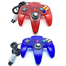 Bowink Game gaming pad console Controller For N64 (Clear Red and Clear Blue)
