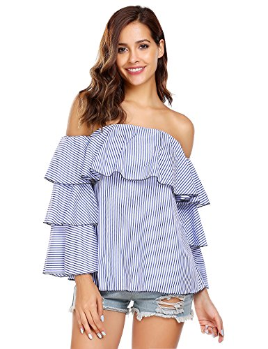 Easther Women's Off the Shoulder Tops Bell Sleeve Ruffles Striped Shirt Blouse