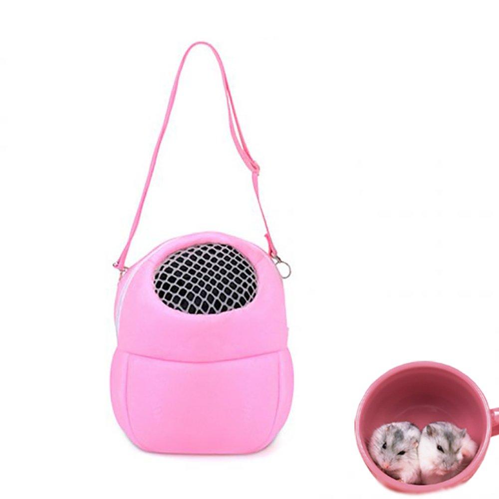 Pevor Pet Carrier Bag - Hamster Rat Hedgehog Rabbit Pet Warm Sleeping Hanging Bag - Breathable Portable Outgoing Travel Handbags, Cotton Nest, Pink (Large)