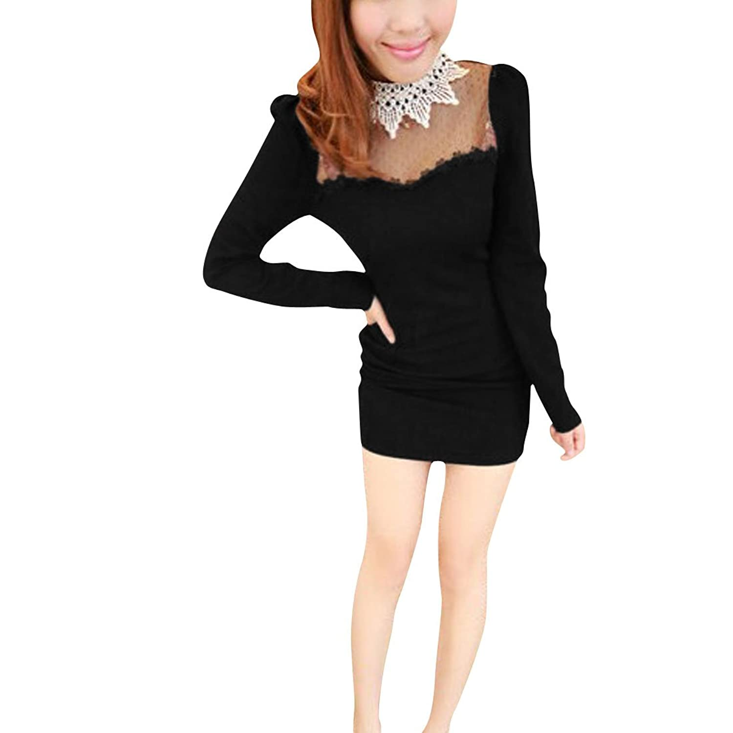 Lady Sexy Lace Plastic Pearls Long Sleeves Mock Neck Pullover Dress