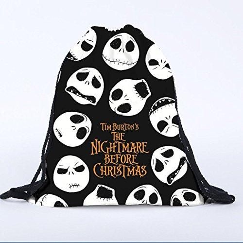 Bag Boys Rucksack Shoulder Transer Backpack Drawstring Canvas Skull Black Girls Unisex xqxpX1Az