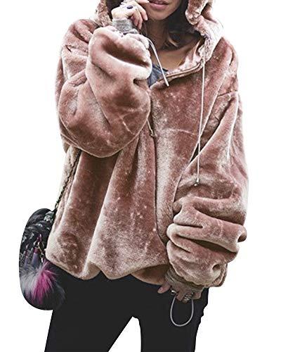 da Caldo Tops Inverno con Addensare Velluto Vello Lunghe Mantieni Autunno Maniche Tinta Pullover Rosa Cappuccio Donna Felpa Unita GUOCU vwtCqpw