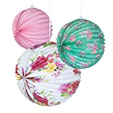 Talking Tables Truly Scrumptious Floral Paper Lanterns for Party Decoration, Multicolor (3 Pack)