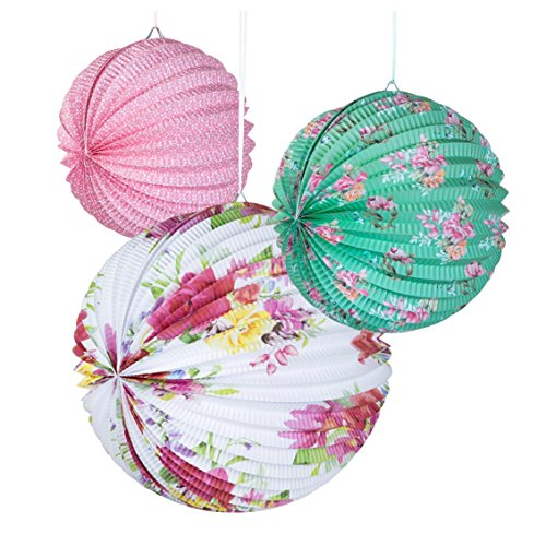 Talking Tables Truly Scrumptious Floral Paper Lanterns for Party Decoration, Multicolor (3 Pack) Paper Lantern Party Decoration