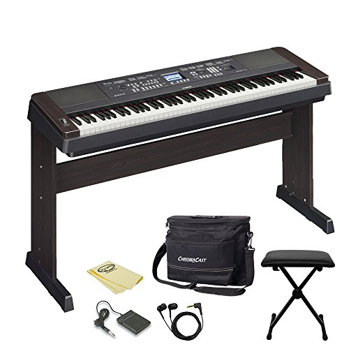 Yamaha DGX650B 88-Key Digital Piano with Earbuds, Pedal, Polish Cloth, ChromaCast Bench, and Musicians Gear Bag