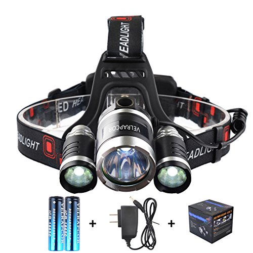 Headlight Lamp Dimmer Switch - VELRAPCOR Ultra Bright LED Headlamps Headlight Flashlight 4 Modes 5000 Lumens 3 CREE XM-L T6 LED Waterproof, Rechargeable 18650 Batteries & AC Charger