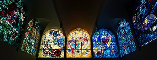 Posterazzi Stained Glass Chagall Windows at Hadassah Medical Centre Jerusalem Israel Poster Print by Panoramic Images (30 x 12) Varies Chagall Stained Glass Windows