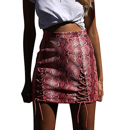 (BTFBM Women High Waist Criss Cross Split Faux Leather Snakeskin Print A-Line Bodycon Mini Skirt (Red,)