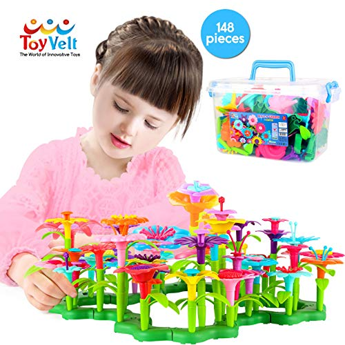 ToyVelt Flower Garden Building Toys for Girls - (148 pcs) Floral Arrangement playset STEM Toy Plus A Container - Flower Toy for Kids Ages 3,4,5,6,7 Year Old