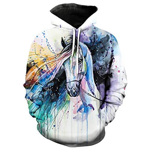 Generie Unisex Horse Pattern 3D Printed Hoodie Cool Animal Print Hoodies Sweatshirt