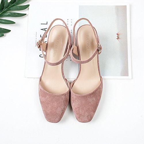 et fente Bold à tête color Chaussures 4 avec Chaussures femelle dans hauts printemps serrage le Sandales 5cm et carré GAOLIM Unique talons l'été de 7dqX7