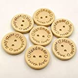100pcs Wooden Handmade with Love Round Crafts Decor 2 Holes Wooden Sewing Buttons,20MM
