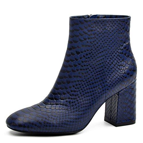 Stivali Caviglia Di Cuoio Tacco Del Blu Di Stivaletti Serpente Di Da Alta Donna Donnain Molla Genuini Modello Di Alla FTq6tF