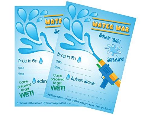 Water War Splash Squirt Gun, Water Balloons or Pool Party Supplies (Invitations) (Gun Splash)