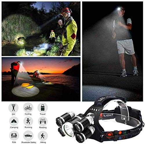 NEWEST And BEST Version Waterproof Headlamp Waterproof 12000 Lumen 5 Led Headlamp XML T6+4Q5 Head Lamp Powerful Led Headlight,Waterproof Camping, Hiking, Hunting,Fishing (Silver) by UVER (Image #6)