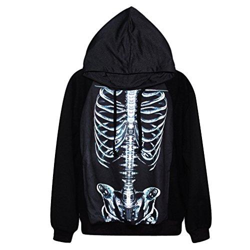 Unisex Hoodies Halloween Theme Skeleton Print Long Sleeve Swearshirt T Shirt (Skeleton Hoodie And Leggings)