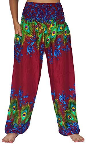 vvProud Bohemian Clothes Smocked Waist Peacock Prints Harem Pants, Perfect for Yoga, Mens, Women, One Size Fits Most (Red (Perfect Fit Clothes)