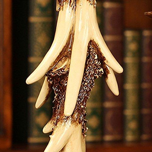 Elegant Vintage Resin Antlers Candlestick Carving Fine Crafts Pattern Wedding Decor Candle Holder Art Sculpture Three-piece Set by DEAI (Image #1)'