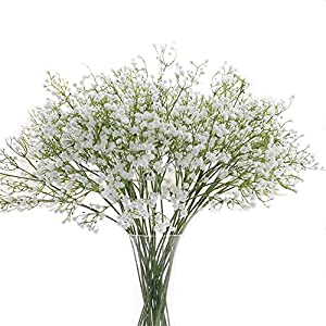 Crt Gucy Artificial Flowers 9Pcs 21″ Baby Breath/Gypsophila Fake Silk Plants Wedding Party Decoration Real Touch Flowers DIY Home Garden, White