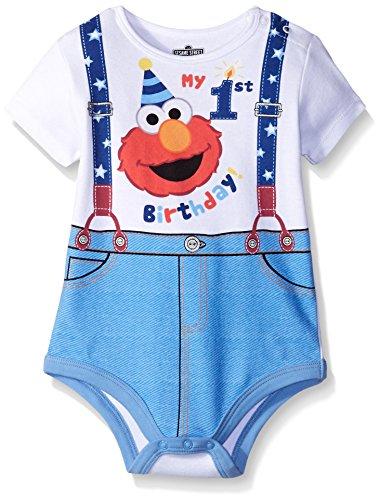 Disney Baby-Boys Elmo My First Birthday Creeper, White, 9 -