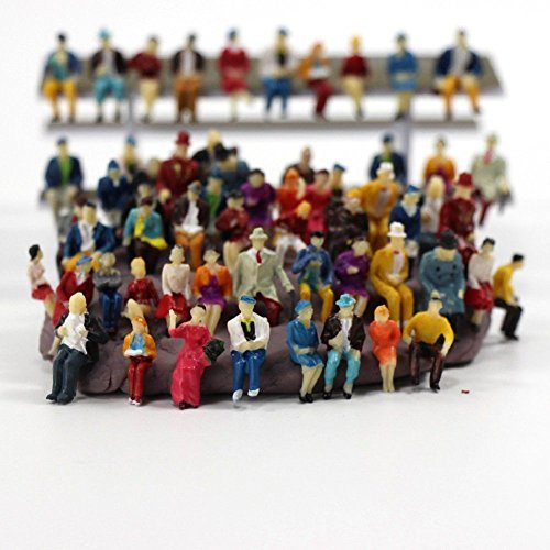 (CWBPING 50pcs 1:87 HO Scale Tiny People Model People Hand Painted Model Train Park Street Passenger People Figure Sitting Pose)