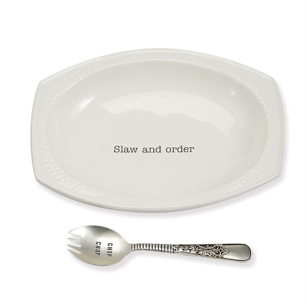 Mud Pie 4601088 Coleslaw Serving Set with Spoon Bowl, One Size, White
