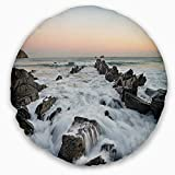 Designart CU10909-20-20-C Bay of Biscay Atlantic Coast Spain' Landscape Printed Throw Cushion Pillow Cover for Living Room, Sofa, 20'' Round, Pillow Insert + Cushion Cover Printed on Both Side