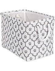 "Bone Dry CAMZ38665 Paw Print Collapsible Polyester Pet Storage Bin, Rectangle Medium - 16 x 10 x 12"", Lattice Grey"
